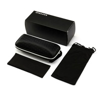 2020 fashion luxury big black zipper custom sunglasses case set with microfiber cloth