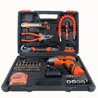63Pcs Hand Box Kit Home Use Cordless Electric Screwdriver Repairing Household Tool Set