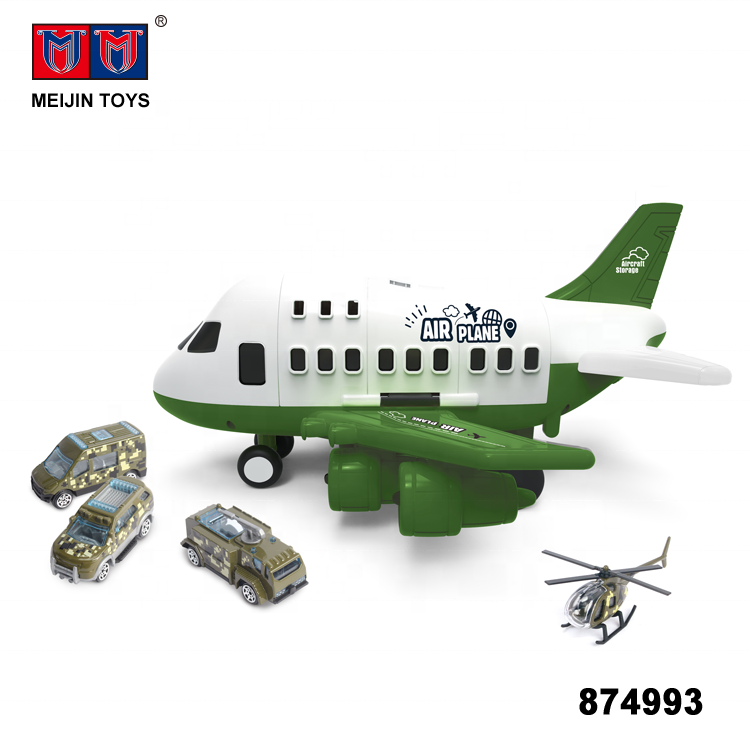 friction military funny track diy toys airplane with alloy 3 cars and 1 alloy plane