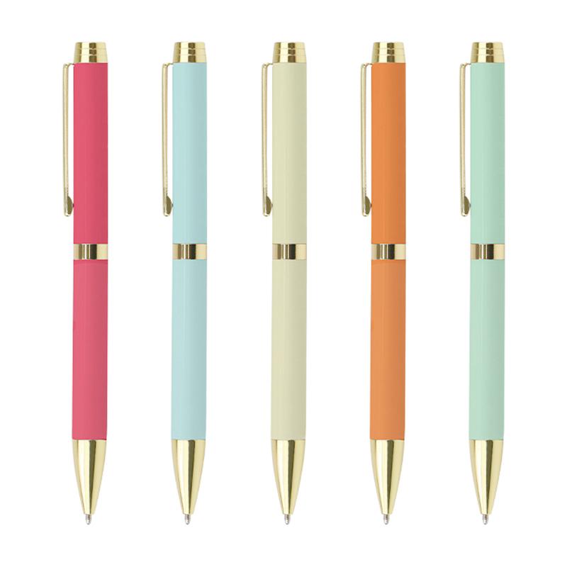 Cheap custom logo printed ballpoint pen promotional gift ball pen Macaroon Color metal gold pen with custom Logo