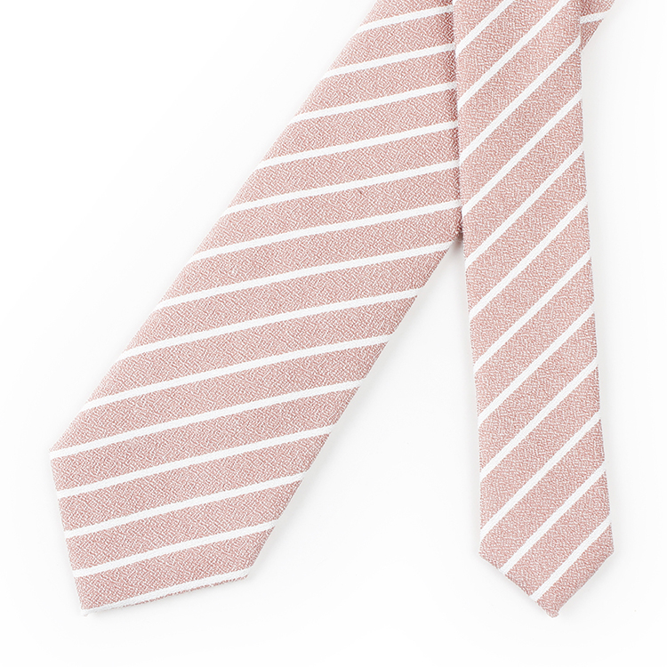 100% Cotton Striped Pink Wedding Neck Ties Mens 6 cm Tie