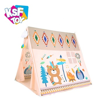 cartoon printing foldable children teepee pop up play tent for indoor