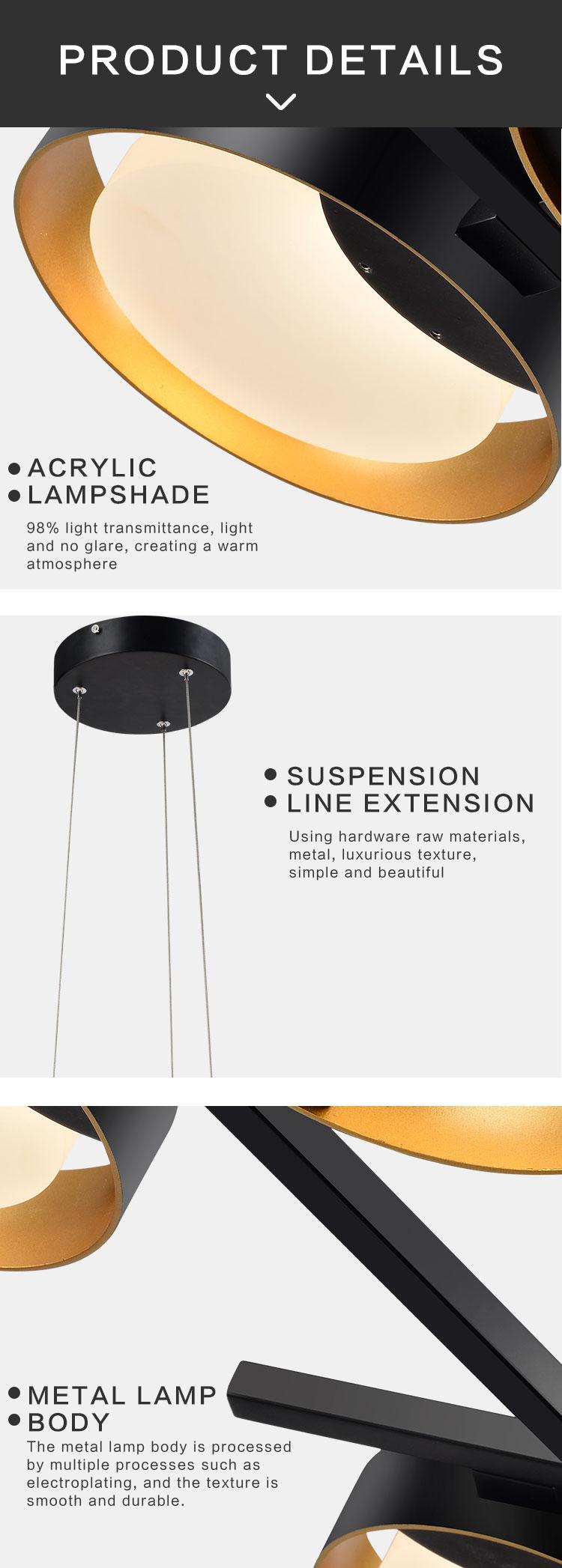 High quality european iron modern pendant light nordic style led pendant light chandelier ring led pendant light for living room