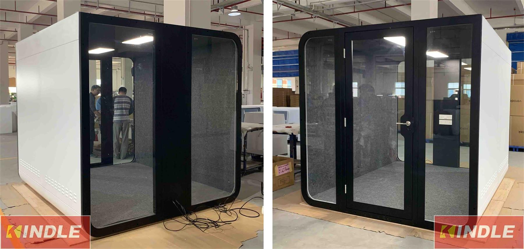 Acoustic Panel Prefab House Style Office Phonebooth Working Pod with Office Chair