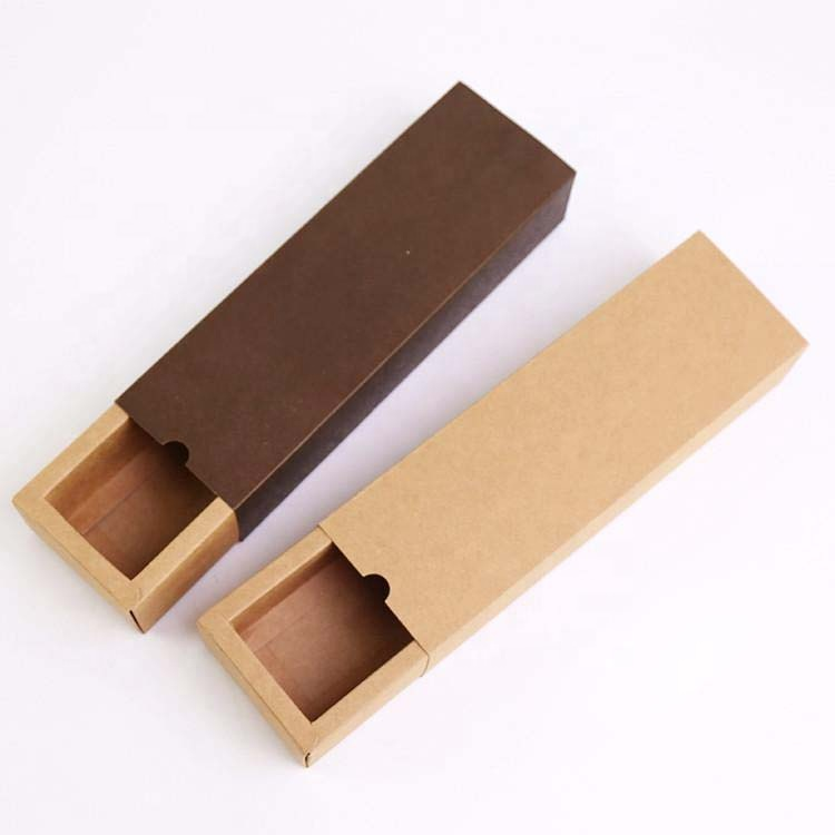 Customise Personalized Small  Brown Kraft Paper Sliding Drawer Box For Cookies