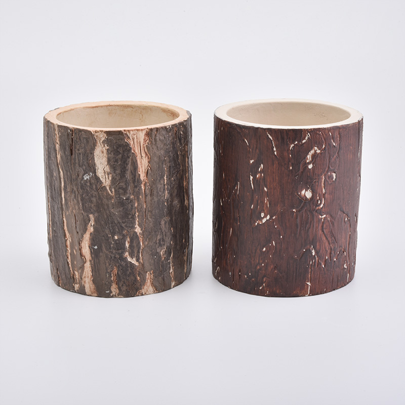 Modern Design Tree Patttern Concrete Candle Holders