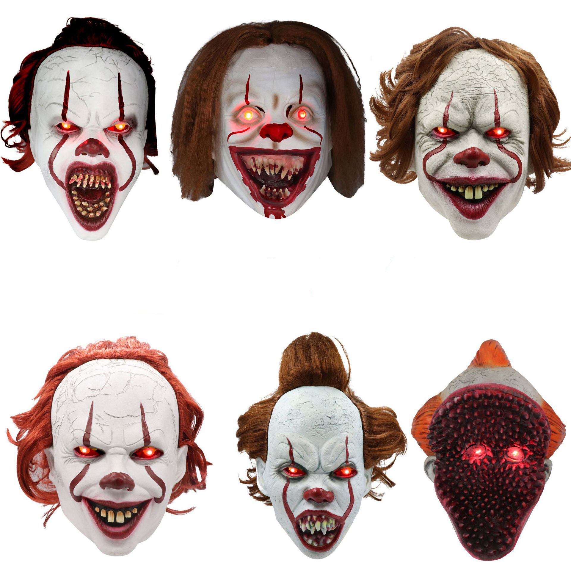 Joker Masker Led Pennywise Stephen King's Het Hoofdstuk Twee 2 Horror Latex Cosplay Clown Halloween Party Prop Masker QMLM-2058