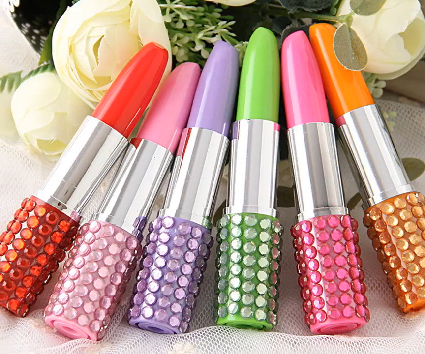 New Creative Kawaii Cheap Cute Diamond Shiny Lipstick Ballpoint Pen Multi Color Plastic Ballpoint Pen