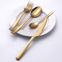 24pcs Wedding Metal Luxury Gold Plated Travel Stainless Steel Cutlery Set
