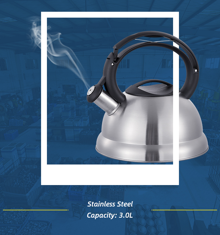 hot sale nylon handle stainless steel tea kettle with whistle