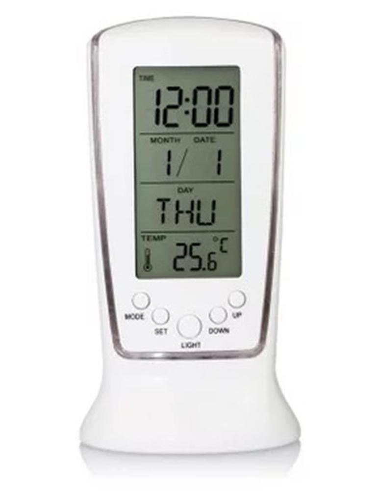 510 pantalla Lcd calendario termómetro Led de alarma de reloj Digital con retroiluminación azul calendario termómetro azul de retroiluminación LED