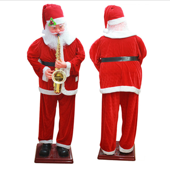 Electric voice control swing sachs dancing christmas decoration sax old man