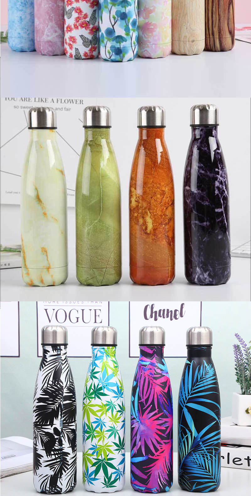 Custom Flower Water Bottle Double Wall Vacuum Stainless Steel Water Bottle