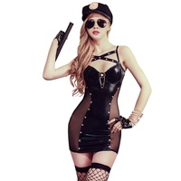 Temptation Sexy Cap Uniform Women Police Cosplay Party Dress Halloween Costume Office Policewomen Uniform Latex suit