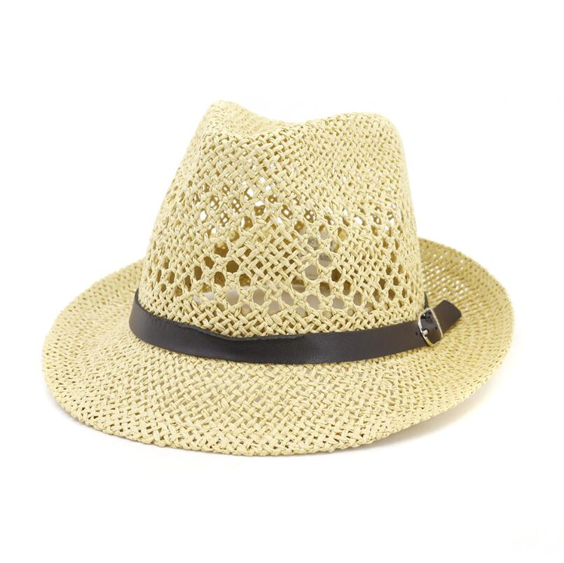Summer unisex sun hat casual vacation Panama straw hat men wide brim Beach jazz hats with belts outdoor casual hat