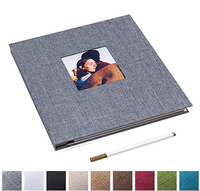 linen self adhesive photo album wedding with 40 self stick pages