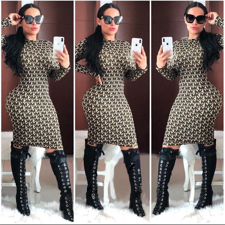 Vestido de impressão de design de moda roupas femininas para outono