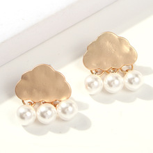 New Arrival Unique Charm โลหะเมฆ Pearl Luxury Dangle จี้ต่างหู