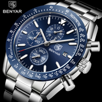 hot sale Benyar 5140 3ATM water resistant stainless steel band multifunction Chronograph quartz man wrist watches