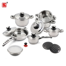 Fashion gift rvs pannenset koken pot en pan set met stoomboot