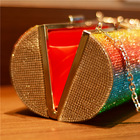 Bag Clutch Best Seller Rainbow Rhinestone Evening Bag Tubular Party Banquet Clutch Hand Bag