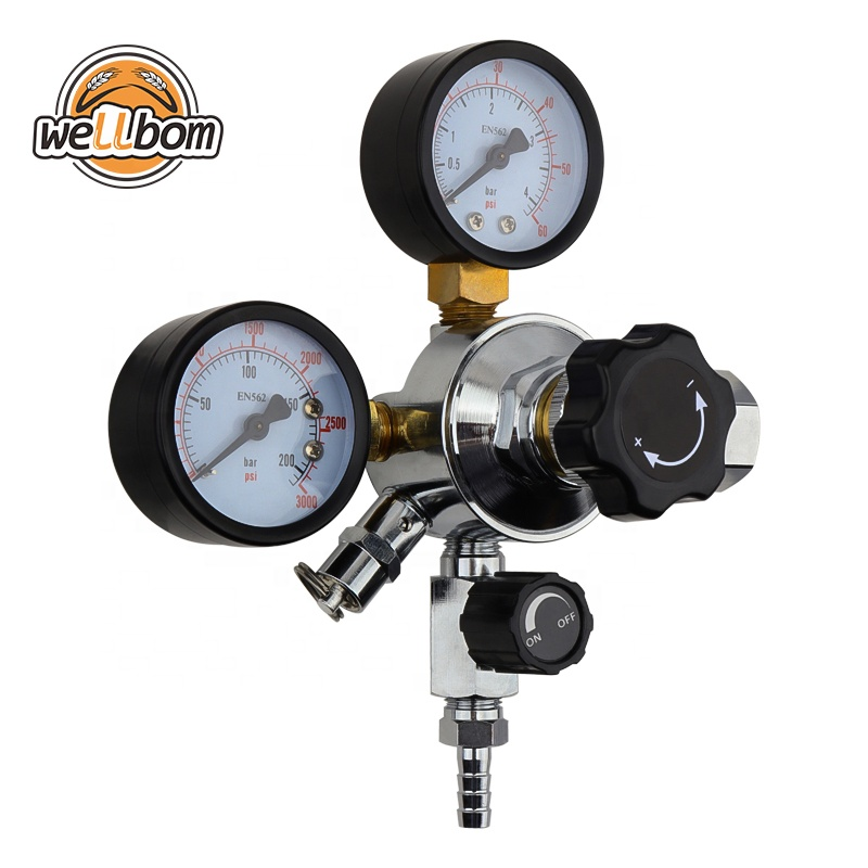 CO2 Gas Regulator CGA320 Dual Gauge với 5/16 '' Barbed Shutt off Van cho Bia Soạn Thảo Bia Soda Homebrew