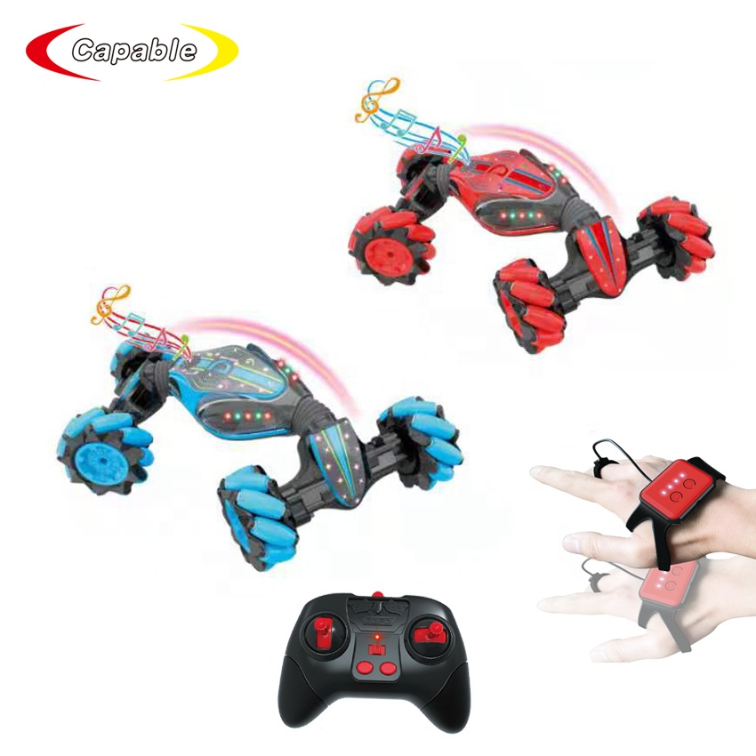 Watch Control Mengubah Twist RC Stunt Mobil Remote Control Double Sidng Rock Merangkak RC Mobil Drift