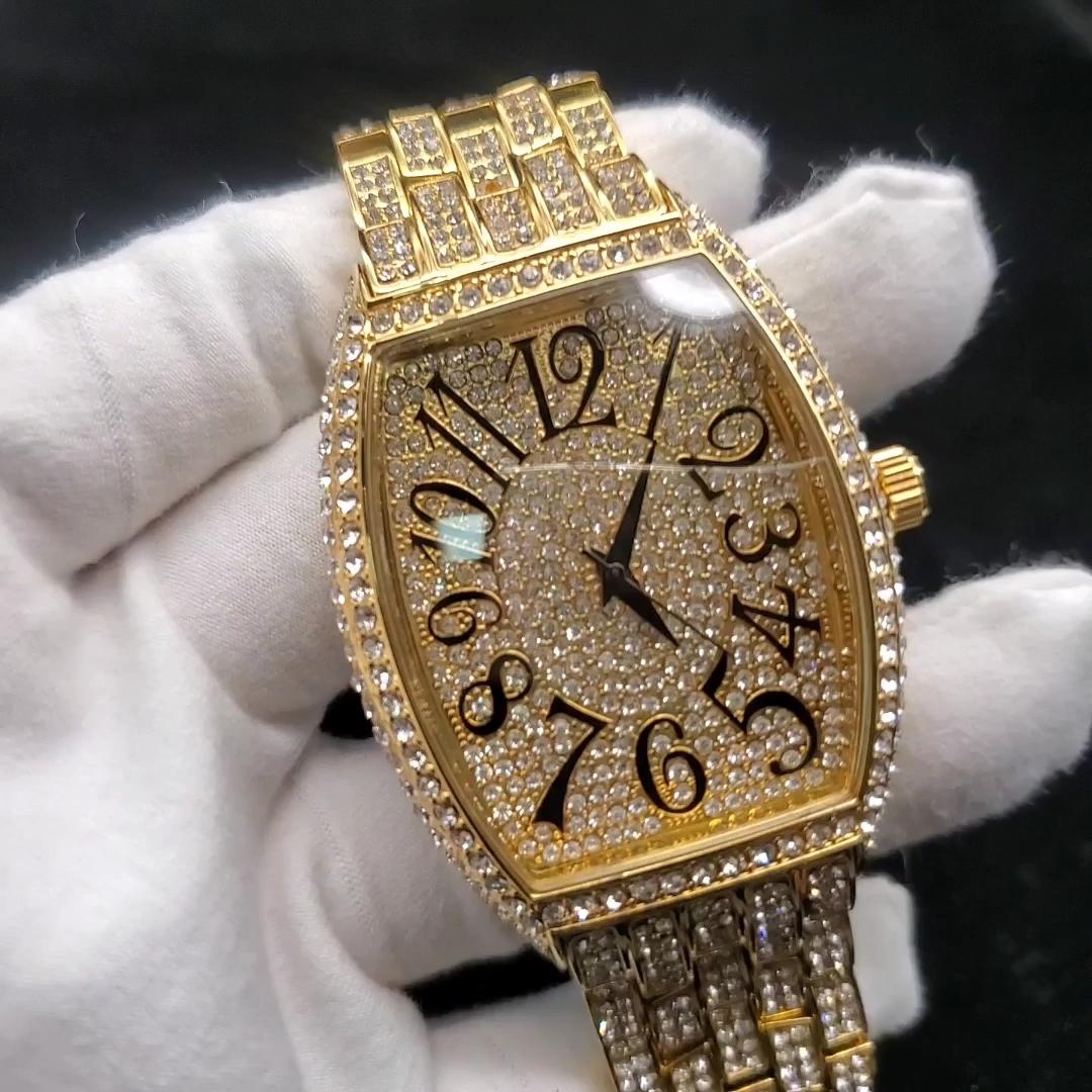 Black Arabic Mumerals Franck Curvex Fully Iced Out Gold Quartz Vanguard Mens Diamond Studded Watches