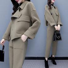 Женская шерстяная куртка, комплект со штанами, костюм, новая модная осенне-зимняя одежда, повседневная рабочая одежда, Офисная Женская шерс...(Китай)
