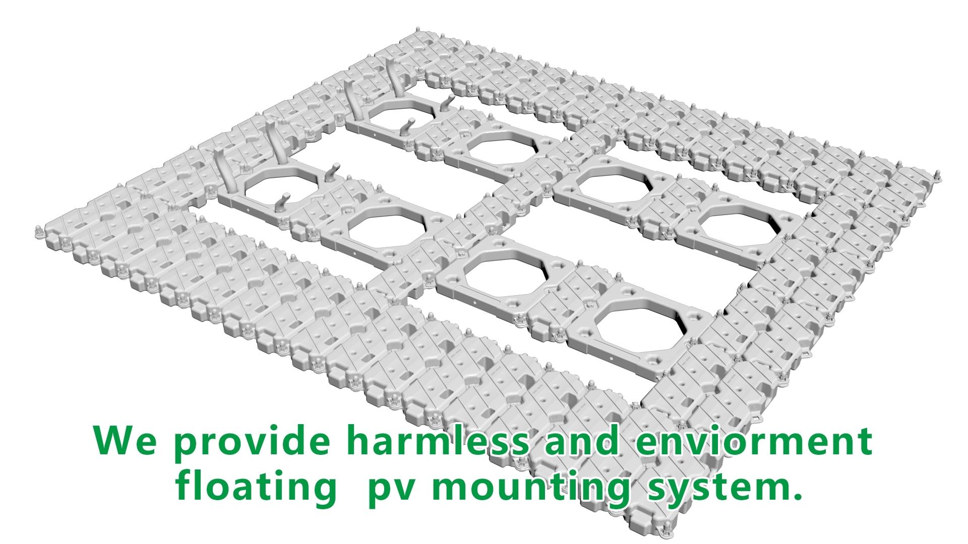 HDPE montaje flotante plataforma en la naturaleza del lago de sistema de energía Solar, planta de energía Solar