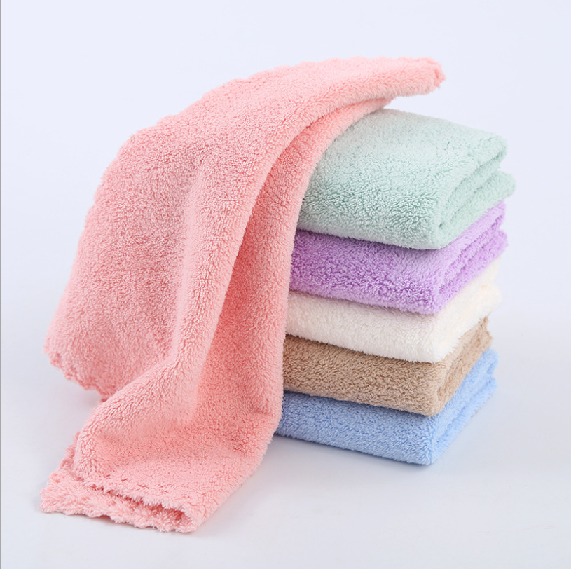 Hot Selling Super Soft Towel Pure Solid Delicate Color Microfiber Coral Fleece Towel