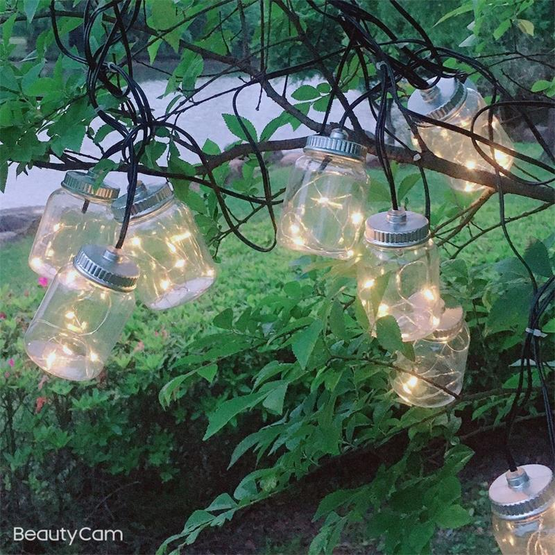Factory Supply  Solar  Power  Decorative Lights  10 Jar String Light Set  New Solar  Garden Lights