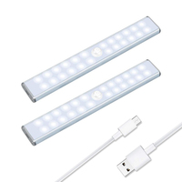 24 LEDs wireless Under Cabinet wardrobe Light USB rechargeable Battery Pir motion sensor led lights