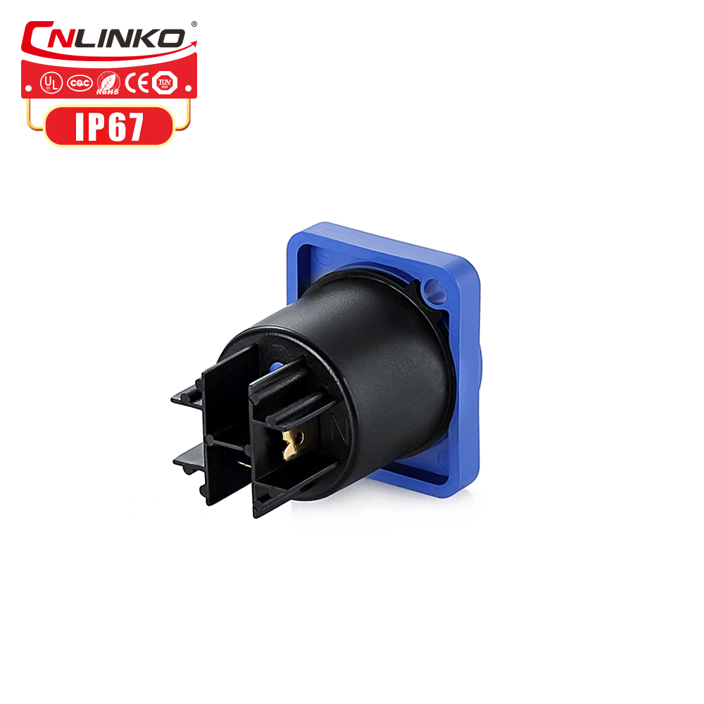 Ip65 Waterproof Bulkhead Electrical Connector Male Female Plug 3 Pin 14agw Cable Connector With Dust cover