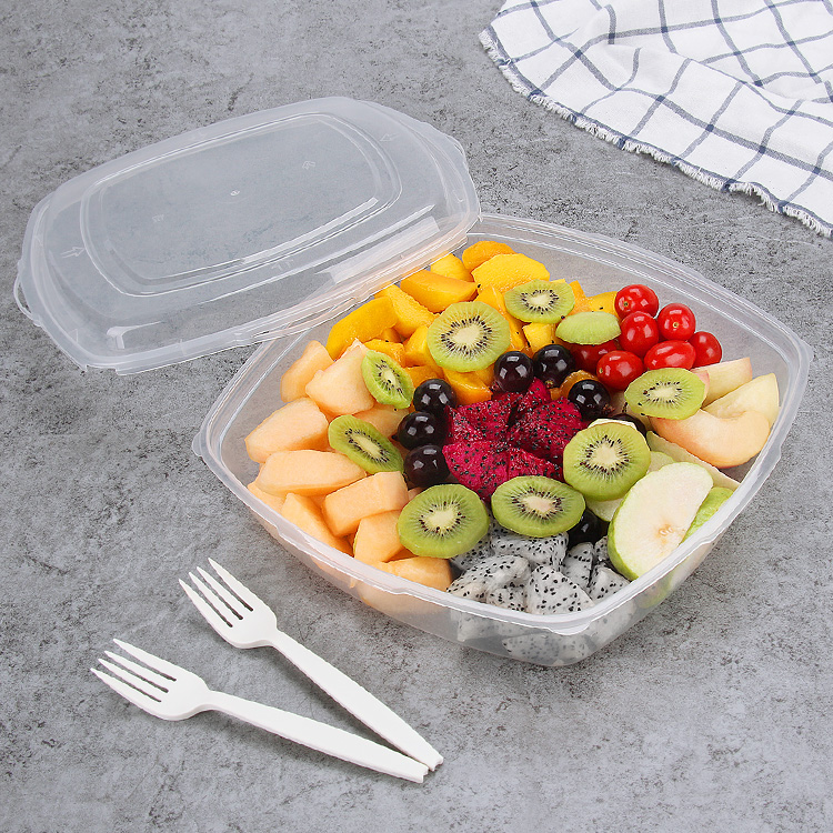 2500ml restaurant disposable container hot packaging fruits plastic fast food takeaway box with lid
