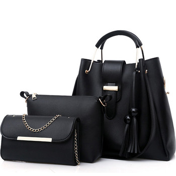 Latest Luxury Women Bag Leather Hand Bags Ladies Black Hand Bags Set