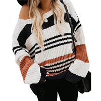 Sexy Off Shoulder Loose Oversized Striped Sweater Women Pullover Jumper