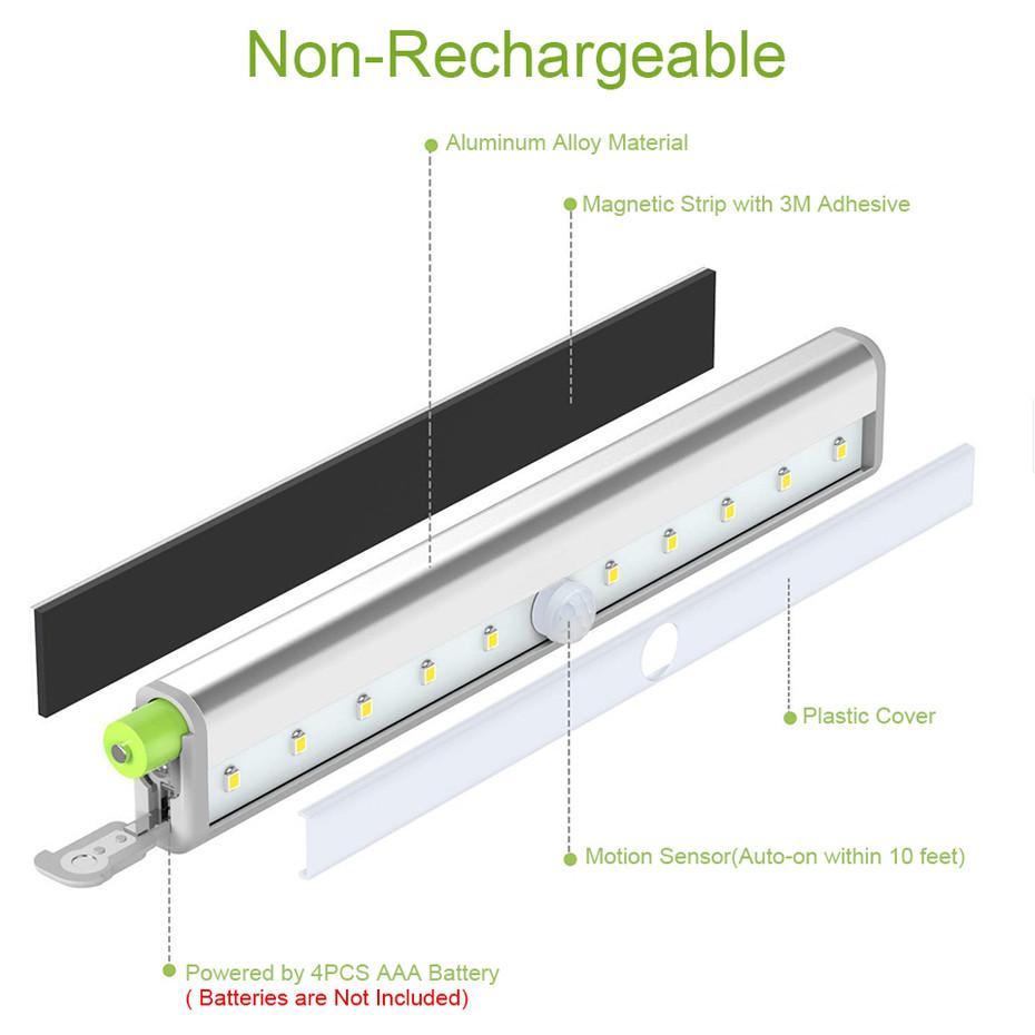10 Leds Wireless Battery Body Detected Motion Sensor Led Closet Cabinet Light