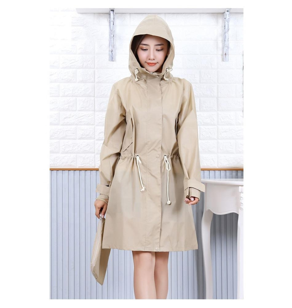 Wanita Portable Fashion Cepat Kering Tahan Air Tahan Air Polyester Hiking Hooded Rainwear Jas Hujan Ponco Cape Coat