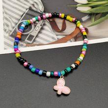 Женский цветной бисер в стиле бохо, маленький Радужный ножной браслет с натуральными ракушками, эластичный браслет с бусинами на ногах(Китай)
