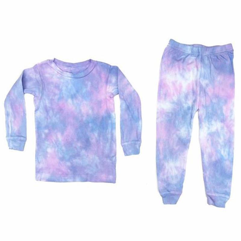 Wholesale Personalized Monogram Tie Dye Design Kids Pajamas