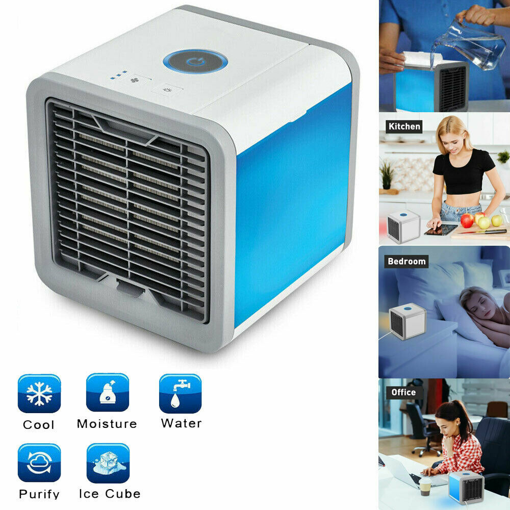 Mini USB Portable Air Cooler Fan Air Conditioner 7 Colors Light Desktop Air Cooling Fan Humidifier Purifier For Office Bedroom
