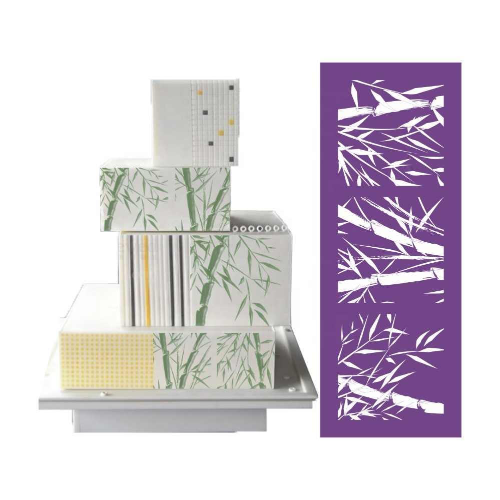 AK Bamboo Cake Lace Stencil Royal Icing Mesh Stencils Fondant Decoration Soft Pastry Tools for Bakery Purple MST-11