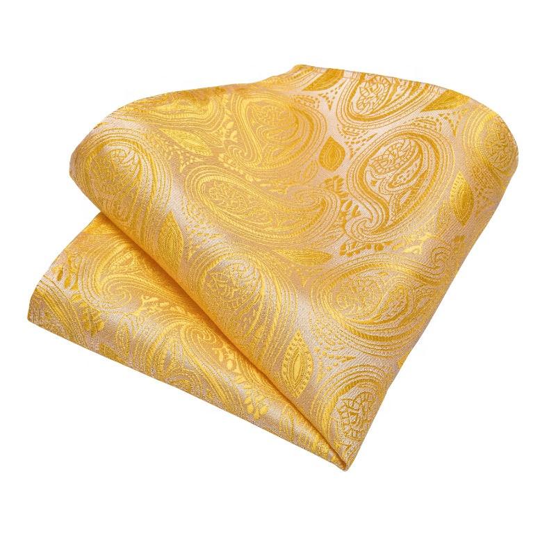 Custom Italian Silk Men Yellow Paisley Ties and Pocket Square