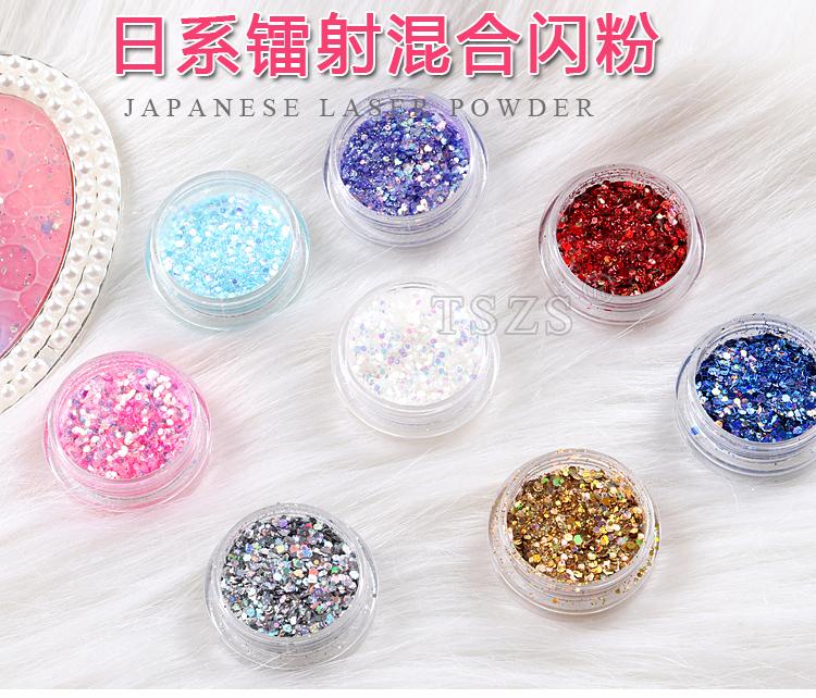 TSZS Hot Selling Japanese Laser Powder Professional Multicolor Nail Art Flakes Sparking Sequins Printing Logo