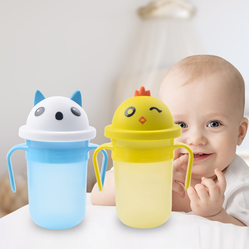 OEM Cartoon Miracle Magic Silicone 360 Drinking No Spill Infant Baby Toddler Sippy Training Trainer Cup With Lid Handle For Baby
