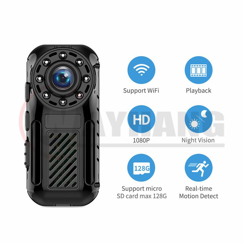 1080p HD wifi mini body worn camera police security worn video camera with Night vision