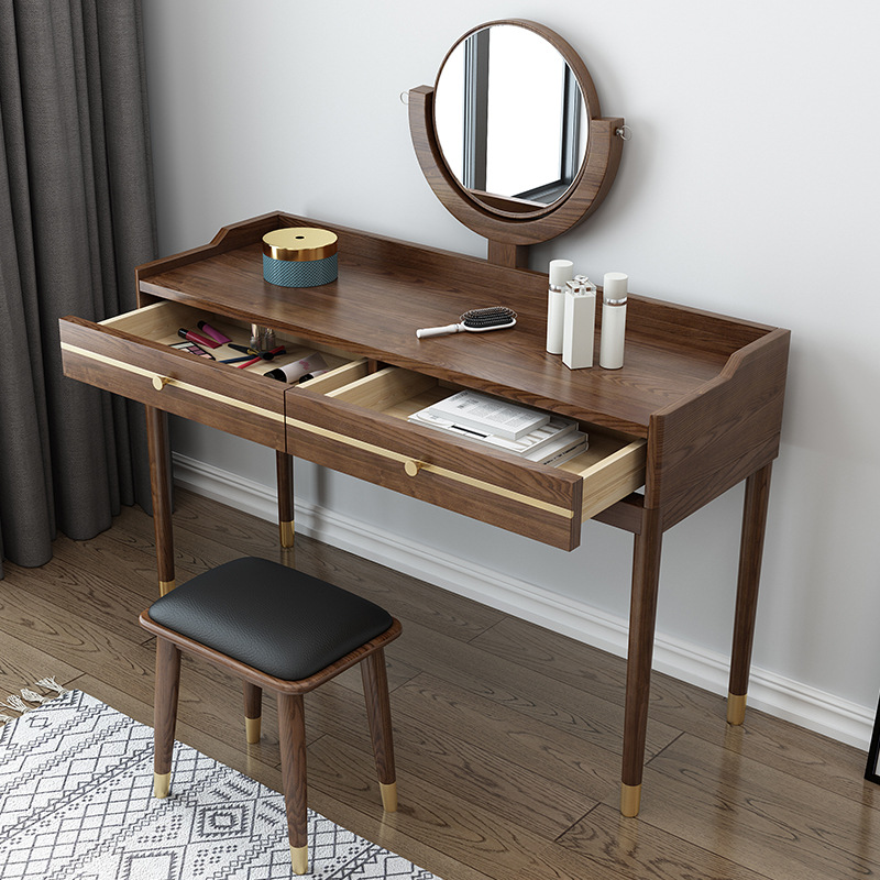 product-2020 Wholesale Modern hot sellingsoild Wooden Bedroom Cupboard Dressing Table with Copper fo