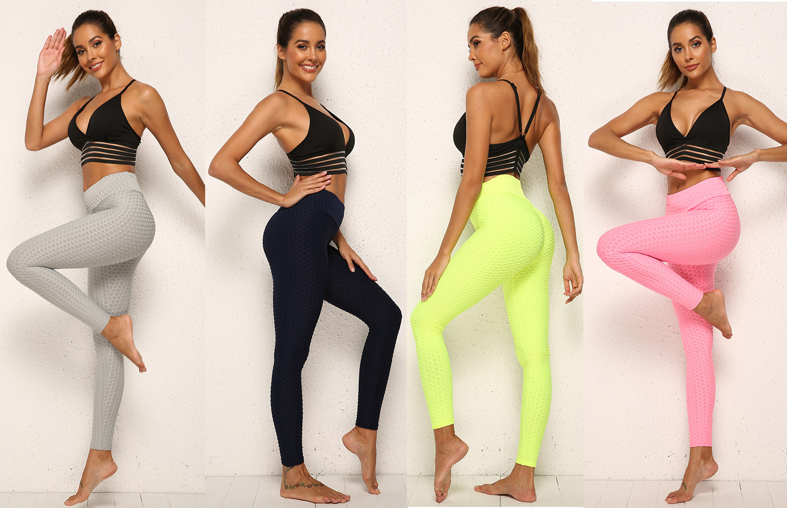 plus size Yoga Pants Women High Wasted Ruched Butt Lift Textured Scrunch Slimming Leggings Workout Tights