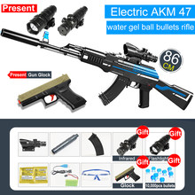 Безопасный пластиковый гелевый шаровой пистолет AK47, пистолет с электрической стрельбой, ручная загрузка, пистолет для мальчиков, страйкбол...(Китай)